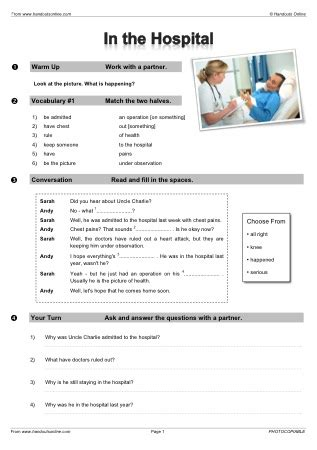 Handouts Online: English Worksheets, activities and lesson