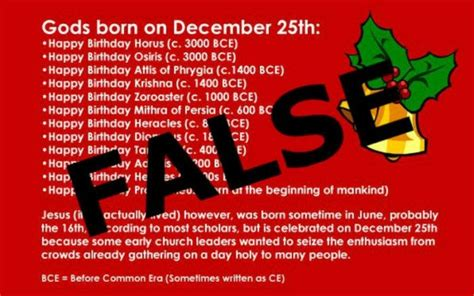 """Were Many Pagan """"Gods"""" Born on December 25th? Here's the Truth"""