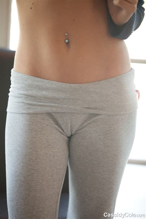 Tight grey yoga pants gives Cassidy Cole a sexy camel toe