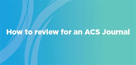 Introducing Review-Ready Submission for ACS Journals