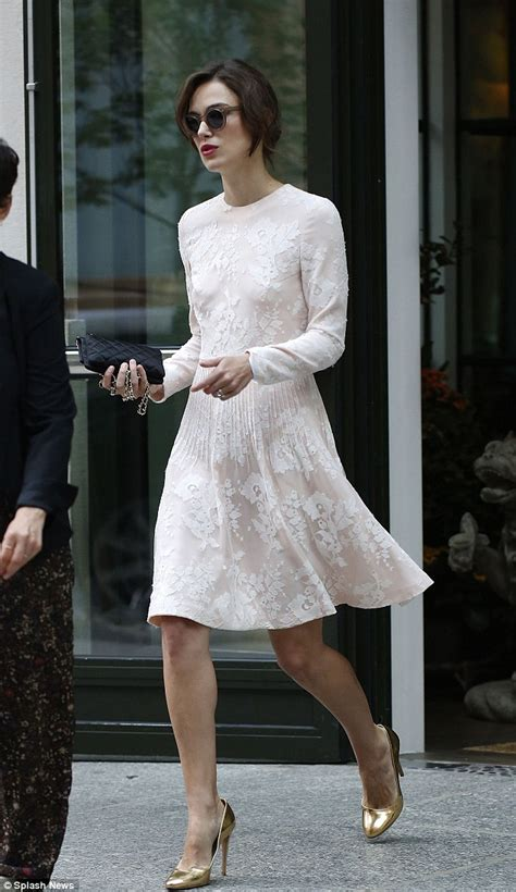 Keira Knightley steps out in a bridal-inspired dress on