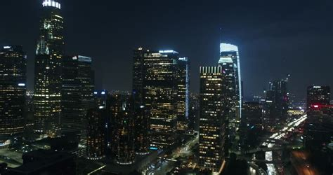 Night Aerial Shot of Downtown Stock Footage Video (100%